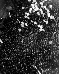 Crowds fill the street during the New York Dressmakers Strike of 1933.