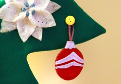 Felt Ornaments and Poinsettia Flowers (TranquilityKnots) Tags: christmas baby tree diy toddler handmade decoration felt garland homemade ornament proof safe