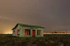 Mercury Julep (Lost America) Tags: lightpainting abandoned night clouds desert motel fullmoon timeexposure barstow nocturnes dixieinn