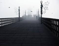 Seal Beach Pier (mr5050looksgood) Tags: california ca people bw seagulls fog pier perspective sealbeach