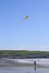 Kite (Kat Shaw) Tags: sea summer kite beach wales landscape coast sand surf hills shore borth