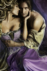 Beauty & the Beast (Daneli) Tags: woman man gold purple surreal romance beast romantic bookcover gown beayty