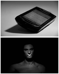 manmade communication (blueskyjunction photography) Tags: portrait bw stilllife white black face mobile mouth shadows message phone text communication
