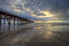 pier into the sunset (Eric 5D Mark III) Tags: ef14mmf28liiusm canon eos5dmarkii seascape landscape rain sunset pier twilight sky cloud perspective reflection light color tone dramatic wideangle beach sand horizon sanclemente orangecounty california unitedstates usa