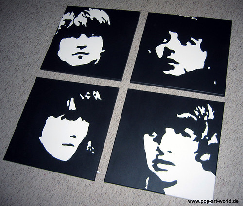 Beatles Pop Art Black And White Beatles Portraits Pop Art