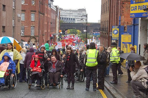 Disabled lead Protestors at March in Birmingham Oct3