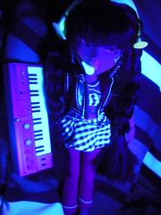 Jade Rocks! (alexbabs1) Tags: new light black rock dark hair spring doll dolls glow funky line collection entertainment blacklight jade yasmin streaks instruments effect mga freshly bratz cloe fashions 2011 deboxed