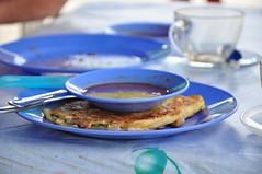 Roti canai in Nia's Cafe (Magdalena Witecka) Tags: blue food tree water coral breakfast island cafe nikon aquamarine plate palm malaysia 105 18 reef pulau roti canai nias d90 malezja nkkor dungla perhetian