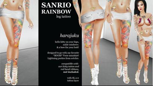 rainbow tattoo. actchio. sanrio rainbow tattoo