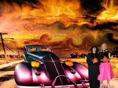 Pumkin Revenge (Rusty Russ) Tags: pine island moon far away picasso earth middle halloween pumpkin revenge headlight orange shannon emily photoshop flickr facebook stumbleupon manipulate image fire ice getty massachusetts new hampshire america color montage manipulation improved for sale newsroom interesting creative surreal avant guarde