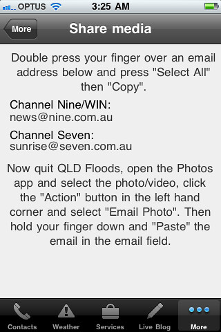 Queensland Floods 2011 App for iPhone / iPod Touch / iPad