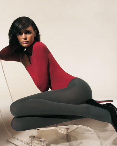 Turtle neck leotard pantyhose