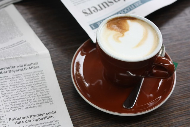 coffee and newspapers on a Saturday afternoon