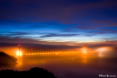 San Francisco Golden Gate Bridge Magic Fog in twilight blue moment