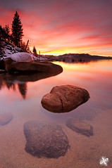 Mountain Paradise - Pines Beach, Zephyr Cove, Lake Tahoe (Explored #2 - Thank you!) (Joshua Cripps) Tags: california trees sunset red orange lake snow mountains reflection beach nature beautiful yellow rock america photography purple joshua cove nevada tahoe alpine pines zephyr granite sierranevada cripps