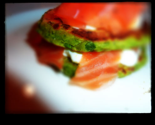 Minty Pea Fritters with Smoked Salmon