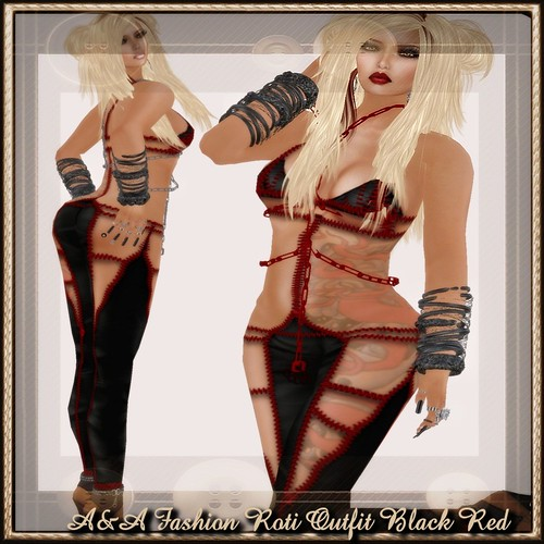 A&A Fashion Roti Outfit Black Red