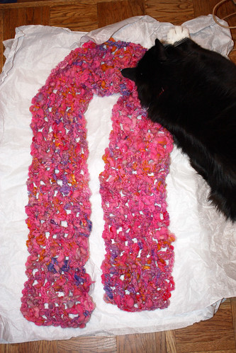 Pink (bitteroot) scarf - full length with Gus