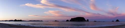 sunset at hahei, north island, nz