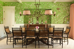 photo07lg (mscott218) Tags: pink windows wallpaper favorite green design interiors designer interior bamboo chandelier lee ann faux curtains rug dining walls chinoiserie interiordesign eclectic thornton tablescape drapery sconces