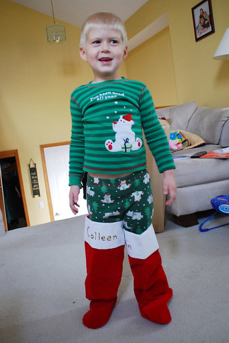 "Wearing ""Santa's boots."""