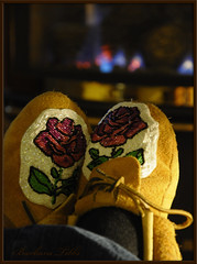 Comfortable Moccasins (Explored) (misst.shs) Tags: fire nikon fireplace explore slippers beaded comforting northidaho d90 explored maccasins macromonday