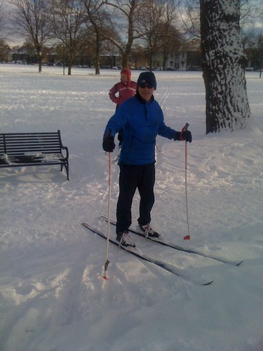 Skiers on Leith Links