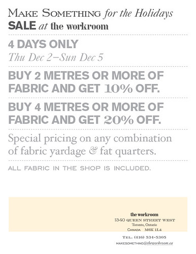 4 DAY FABRIC SALE at the workroom!