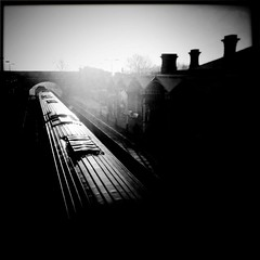 Ice Train to London (glynneh) Tags: bw mist station train vintage leicestershire railway loughborough iphone iphoneography hipstamatic
