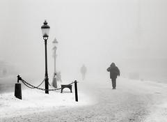 Skeppsbron (*Kicki*) Tags: 2010 skeppsbron fog foggy dimma mist stockholm sweden lamppost people schweden monocrome silhouette monotone kicki kh67 svenskaamatörfotografer sverige suede svartvitt quay