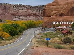 Hole N' The Rock, Utah (Jasperdo) Tags: road trees fall landscape utah highway scenery fallcolors roadtrip redrock touristtrap holentherock us191
