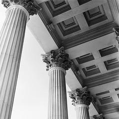Ceiling Detail (Colin Clarke~) Tags: bw 6x6 tlr film sc architecture rolleiflex columns ceiling charleston uscustomshouse autaut colinjclarke porticoceilingdetail