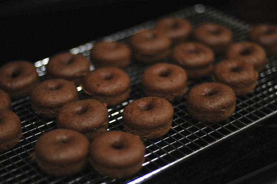 Baked Chocolate Donuts with Mocha Frosting