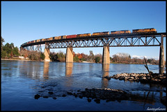(huntingtherare) Tags: railroad trestle bridge train engine unionpacific watermark sacramentoriver southbound