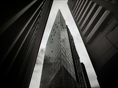monochromoliths #2 (mugley) Tags: city sky urban blackandwhite bw slr mamiya film lines architecture modern clouds triangles buildings mediumformat prime 645 triptych apartments pointy skyscrapers kodak towers grain perspective angles australia melbourne wideangle victoria scan southbank sharp lookup d76 negative epson 6x45 residential cloudporn mamiya645 urbanlandscape redfilter corners plusx 125px polariser 25a v700 cloudage keystoning mamiya645protl m645 kodakplusx125 35mmf35sekorn bataphobia fanningst