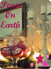 Peace on Earth...vintage pink Christmas ornaments (eg2006) Tags: christmas old pink holiday glass beautiful rose glitter vintage lights mirror shiny pretty candles mercury antique girly cottage balls garland retro sparkle ornaments jar romantic glowing chic apothecary decor vignette picnik edit candleabra mantel shabby bubblelights shinybrite