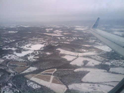 Flying over snowy upstate New York