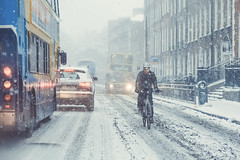 City Snow (shaymurphy) Tags: street ireland winter dublin snow bus car bike bicycle cyclist traffic blizzard whiteout leeson nikkor85mmf18 nikond700