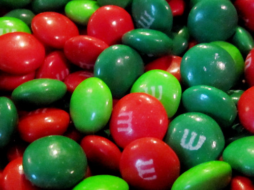 Red and Green Christmas M&M Candy