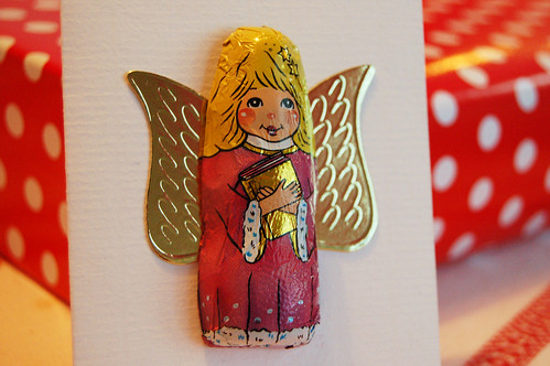 Chocolate angel card