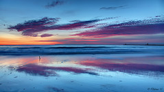 Through a Looking Glass (Didenze) Tags: blue light sunset sky seascape beach clouds reflections glow purple perspective surreal explore balance lowtide coronadelmar canon450d exposurefusion didenze