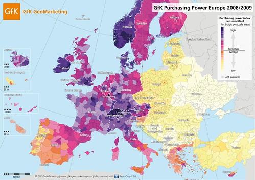 Carte de l'Europe selon le pouvoir d'achat