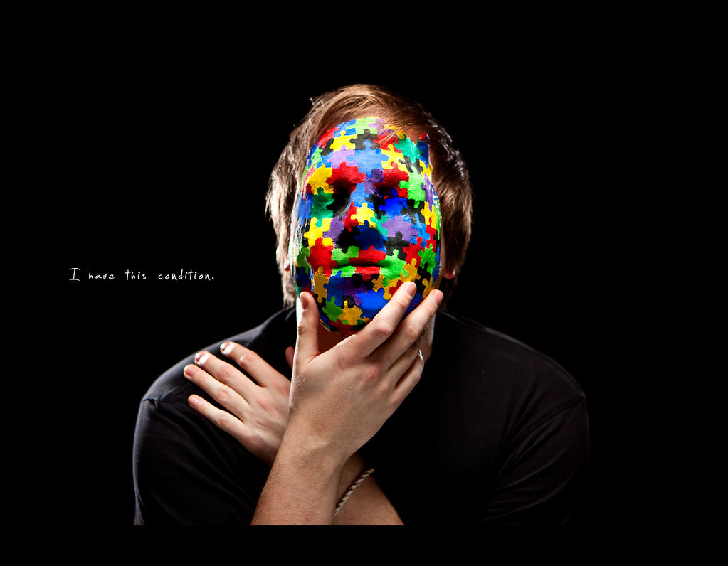 Day 147, 147/365, Strobist, Self Portrait, ourdailychallenge, Mask, Pieces, Memento, rimlight, softbox, colours, puzzle, mask, PocketWizard Plus II, Canon EF 24-70 f2.8, project365