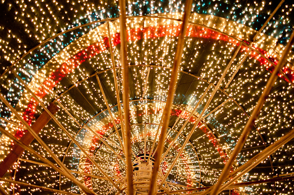 Una vista del Árbol de Navidad del Bicentenario de aproximadamente 10 metros, que está en la plaza frente mismo a la Iglesia de la Recoleta. (Elton Núñez - Asunción, Paraguay)