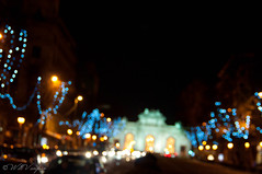 Blink (willvaughan) Tags: madrid christmas espaa holiday night lights noche spain december bokeh outoffocus diciembre 2010 alcal lighttrail puertadealcala espaa alcal outbreath