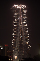 Burj Khaleefa 2011 (Ahmad Al Zarouni) Tags: light night dubai fireworks uae khalifa glowing celebrating burj     2011           khaleefa    blinkagain