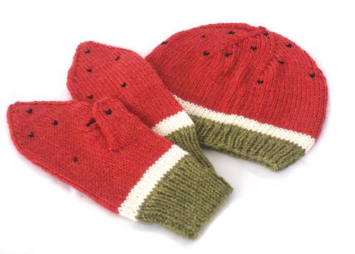 Suzanne's watermelon hat & mittens