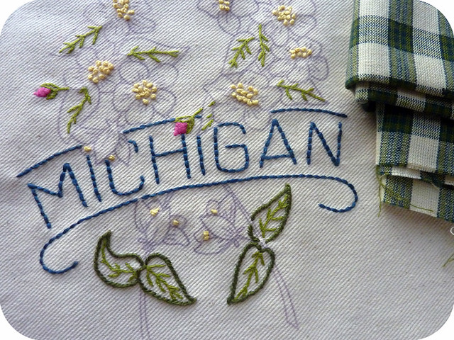 Michigan pillow embroidery