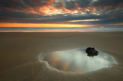 Erupting (@Gking_photo) Tags: sunset sea summer england sky colour reflection beach water rock clouds canon landscape photography coast seaside sand cornwall imac sigma coastal coastline 2010 westcountry rockpool sandymouthbay flickrexplore canon50d
