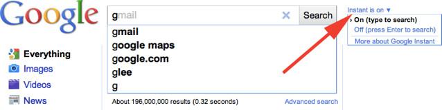 google instant off